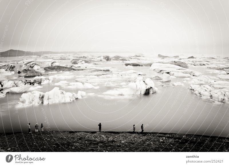 Iceland Natur weiß Ferien & Urlaub & Reisen ruhig schwarz Erholung kalt Umwelt Landschaft Stimmung See Eis Horizont Tourismus Klima Wandel & Veränderung
