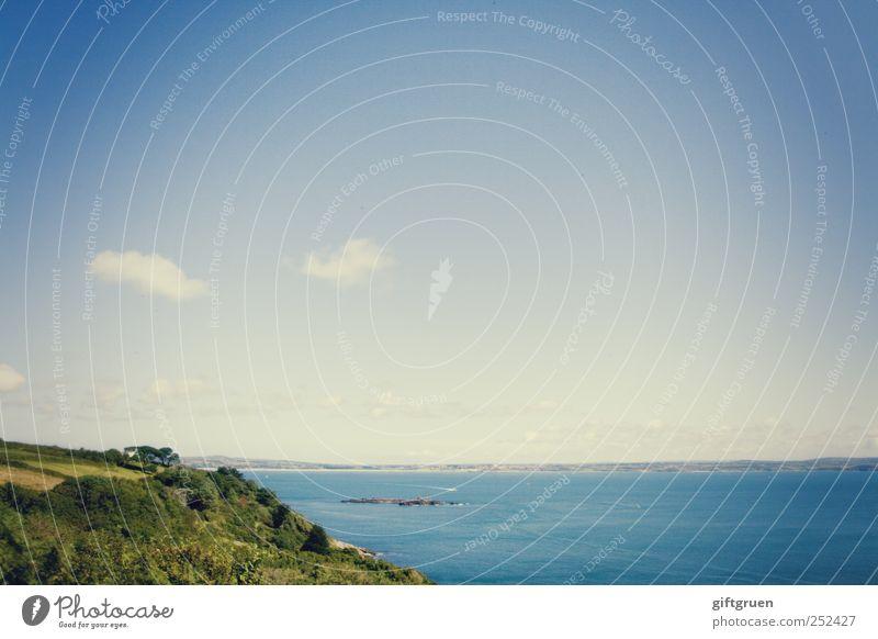tangled up in blue Umwelt Natur Landschaft Pflanze Urelemente Erde Wasser Himmel Wolken Schönes Wetter Wiese Feld Hügel Wellen Küste Meer Insel blau Cornwall