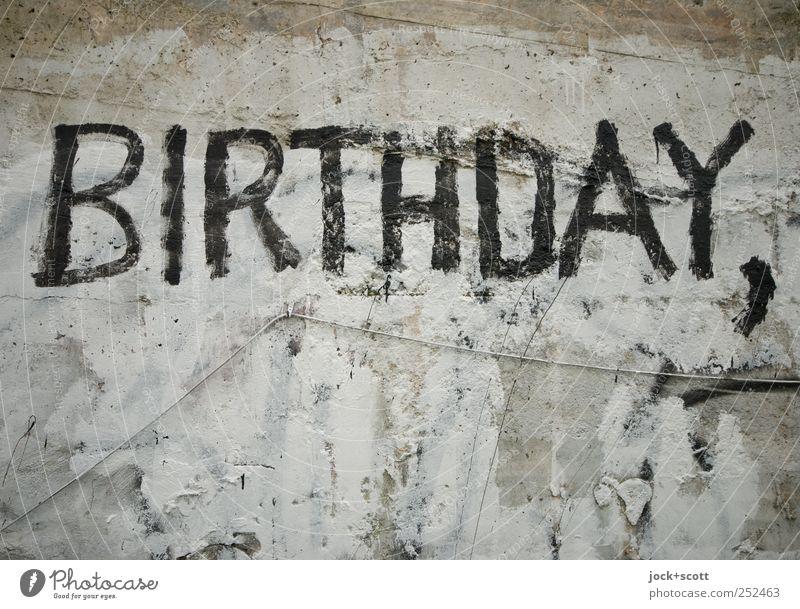 birthday greetings schwarz kalt Wand Graffiti Mauer Glück grau Feste & Feiern Geburtstag ästhetisch Beton Wandel & Veränderung Buchstaben Kabel fest Wort