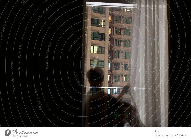 Am Fenster #1 Mensch Frau Erwachsene Nachthimmel Hongkong China Asien Hauptstadt Stadtzentrum Skyline Haus Hochhaus Gebäude Fassade Gardine Beton Glas Blick