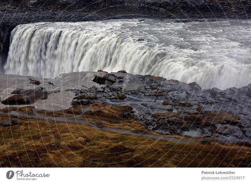 Im Strom Ferien & Urlaub & Reisen Tourismus Ferne Umwelt Natur Landschaft Urelemente Erde Wasser Hügel Felsen Schlucht Wasserfall Dettifoss Island Europa