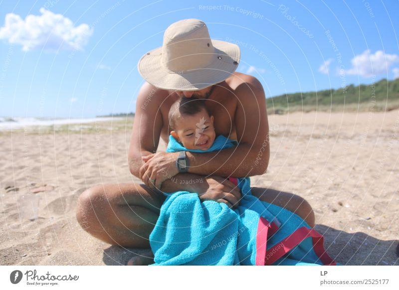 Kind Mensch Ferien & Urlaub & Reisen Sommer Sonne Freude Mädchen Strand Lifestyle Erwachsene Leben Liebe Senior Gefühle Familie & Verwandtschaft Stimmung