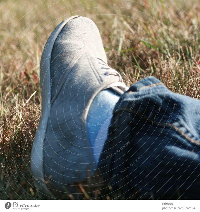 Happy Foot Lifestyle Stil Freundschaft Beine Fuß 1 Mensch Natur Sommer Schönes Wetter Gras Wiese Jeanshose Schuhe hocken blau grau Stimmung Einsamkeit Farbfoto