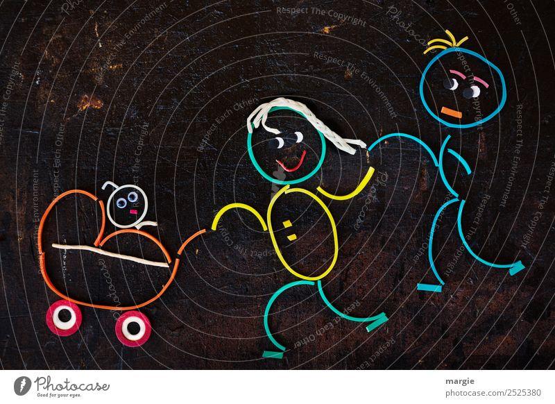 Gummiwürmer: Vater Mutter Kind im Kinderwagen Ausflug Mensch maskulin feminin Baby Mädchen Junge Junge Frau Jugendliche Junger Mann Erwachsene Eltern