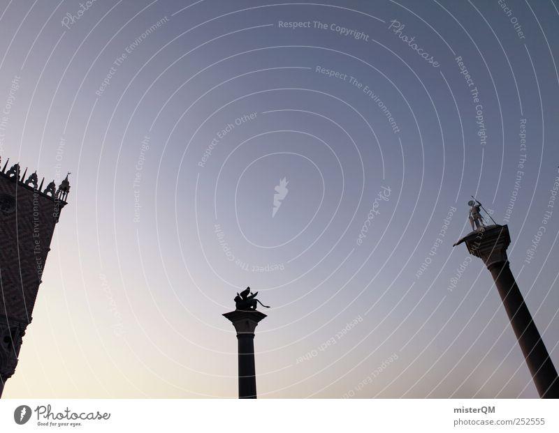 Stille Wächter. Himmel blau Ferien & Urlaub & Reisen Himmel (Jenseits) Kunst ästhetisch Italien Vergangenheit Statue Wahrzeichen Fernweh Sehenswürdigkeit Venedig Erzählung Löwe