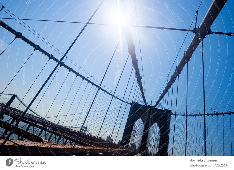 Brooklyn Bridge Ferien & Urlaub & Reisen Tourismus Ferne Sightseeing Städtereise Wolkenloser Himmel Schönes Wetter Stadt Skyline Brücke Sehenswürdigkeit