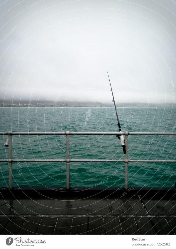 Shut up and FISH! Angeln Ausflug Angelrute Wasser schlechtes Wetter Küste Meer Erholung dunkel blau ruhig Fischereiwirtschaft Geländer warten Warterei Farbfoto