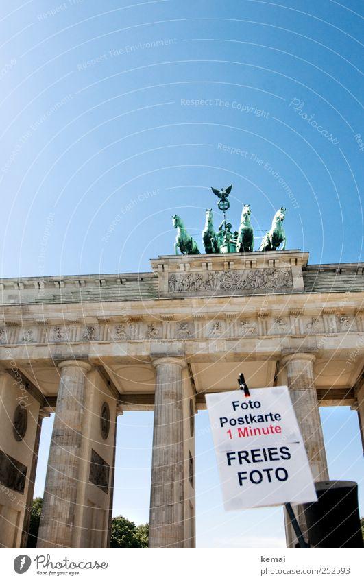 Freies Foto Himmel blau Sonne Sommer Berlin lustig Schilder & Markierungen Fotografie Werbung Denkmal Schönes Wetter Statue Wahrzeichen Stadtzentrum Hauptstadt Sehenswürdigkeit
