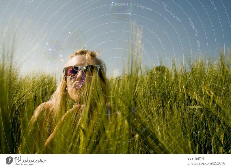 Mensch Frau Jugendliche schön Pflanze Sommer Freude Erwachsene feminin Spielen Freiheit Kopf Luft blond Feld Fröhlichkeit