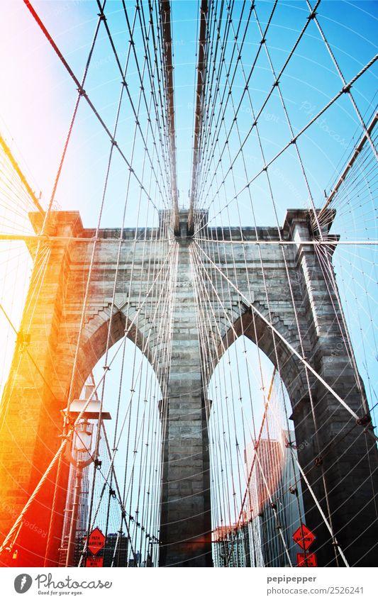 Brooklyn Bridge Ferien & Urlaub & Reisen Tourismus Sightseeing Städtereise Schönes Wetter USA Hauptstadt Stadtzentrum Brücke Bauwerk Architektur Mauer Wand