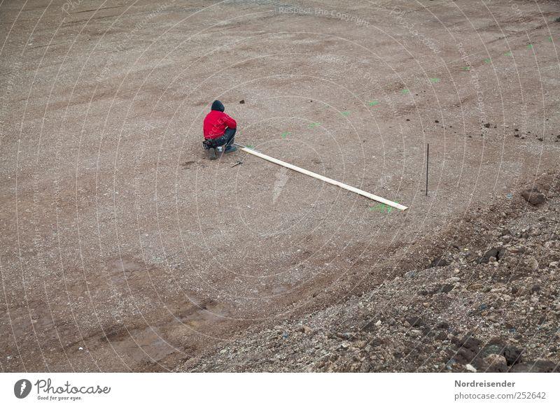 Menschlein in der Grube Linie Arbeit & Erwerbstätigkeit Baustelle Beruf Zeichen Konzentration Holzbrett Handwerker Bauarbeiter Arbeitsplatz messen Mittelpunkt