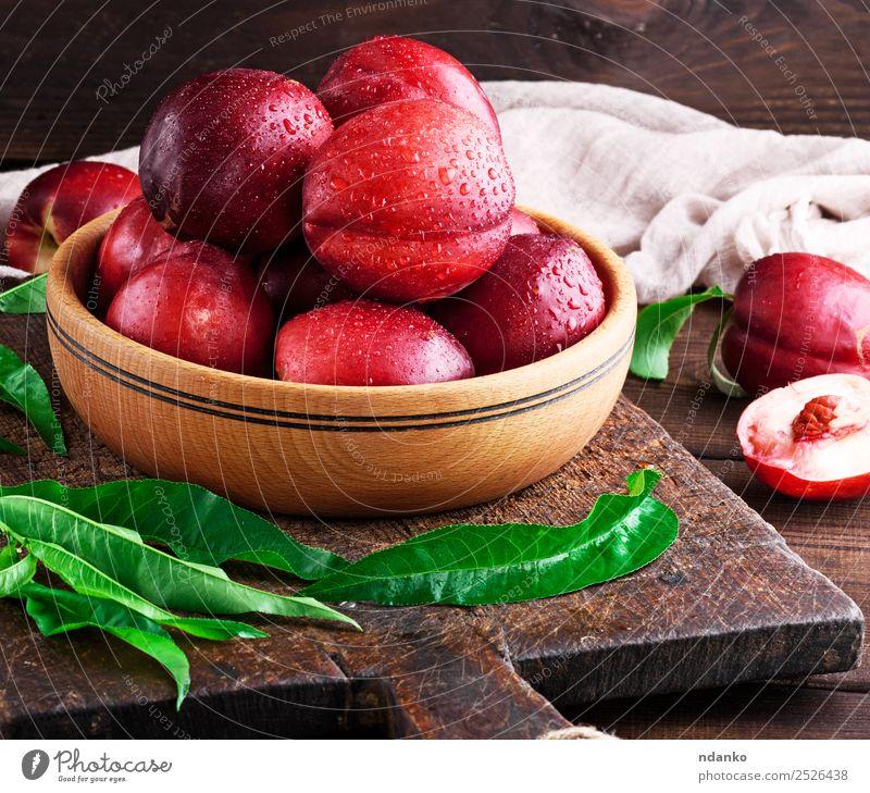 reife Pfirsiche Nektarine Frucht Dessert Ernährung Schalen & Schüsseln Tisch Menschengruppe Blatt Holz Essen frisch saftig braun rot Hintergrund Lebensmittel