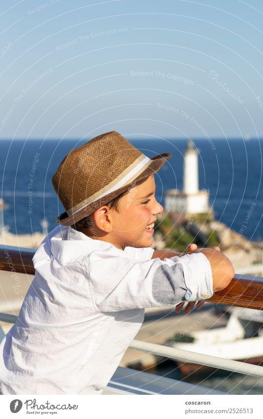 Kind Mensch Himmel Natur Ferien & Urlaub & Reisen Sommer blau schön Sonne weiß Meer Freude Strand Lifestyle Leben Küste