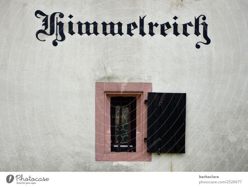 Grenzüberschreitung | zum Himmelreich Haus Gebäude Mauer Wand Fassade Fenster Schriftzeichen historisch Gefühle Religion & Glaube Symbole & Metaphern Farbfoto