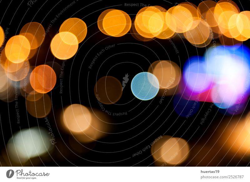 Lichter verschwimmen Lifestyle Stil Design Nachtleben dunkel Farbe Unschärfe Glitter Hintergrund blitzen Brennpunkt farbenfroh Kreis Beleuchtung glühen