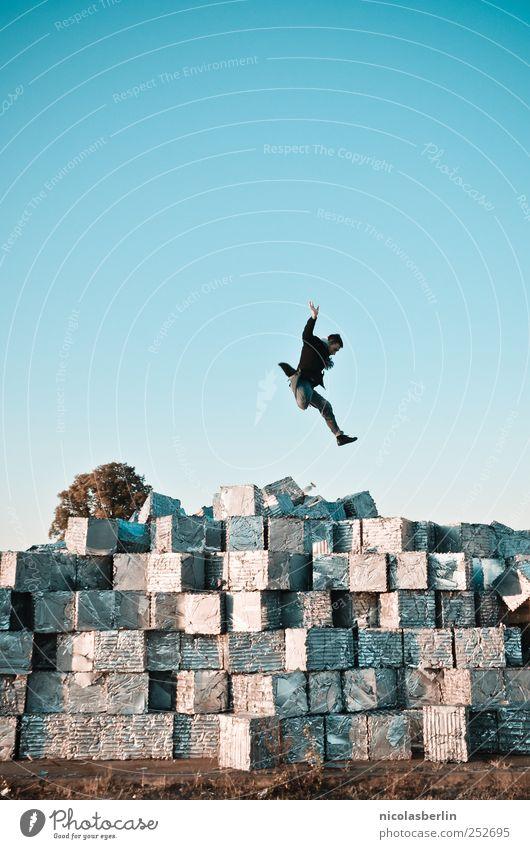 B@DD 11 | Glückssprung Ferien & Urlaub & Reisen High-Tech Raumfahrt maskulin Mann Erwachsene Leben Mensch Umwelt Ruine Mauer Wand Paket Sammlung springen