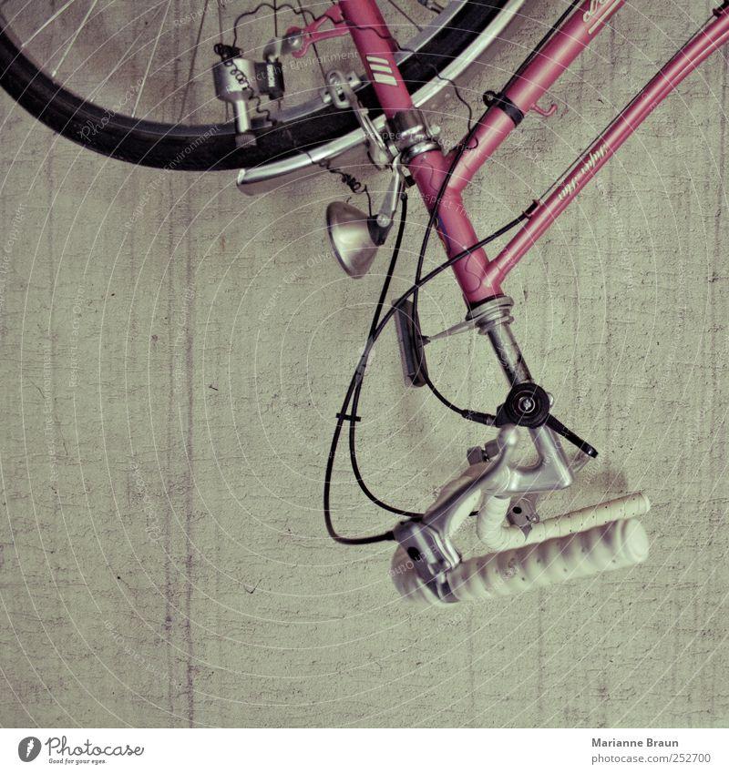 Altes Damenrad alt Wand grau Stein Farbstoff Metall Fahrrad rosa warten fahren hängen Putz silber Reifen Draht Leder