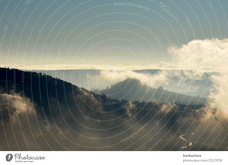 Herbstluft Ausflug wandern Natur Landschaft Urelemente Luft Himmel Wolken Klima Nebel Wald Hügel blau Stimmung Freiheit Freizeit & Hobby Horizont Ferne Farbfoto