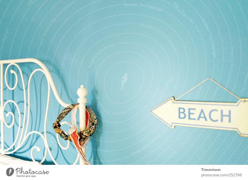 BEACH blau weiß Strand Freude Gefühle Stil Metall Zufriedenheit ästhetisch authentisch Coolness Häusliches Leben Bett Lebensfreude Möbel