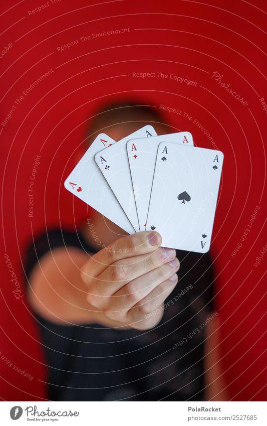 #S# Winner maskulin Glück Spielen Ass Erfolg Spielsucht Spielkarte Kartenspiel Glückskind rot Junger Mann zeigen Preisschild gleich Herz kariert Kreuz