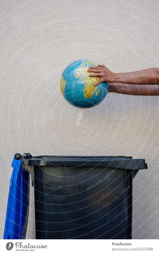 #S# Neue WELT ?! III Umwelt Natur Klima Klimawandel gefährlich Globus wegwerfen Müllbehälter Gesellschaft (Soziologie) Hand Angst Erde Bewusstsein