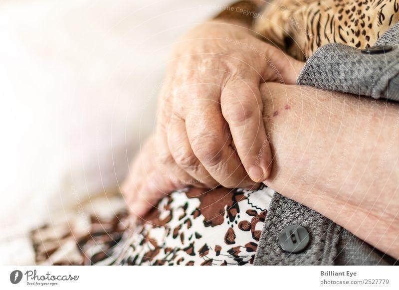 Zusammenschluss Frau Mensch alt Hand Erholung ruhig Senior feminin Zufriedenheit 60 und älter authentisch warten Zeichen weich Schutz Weiblicher Senior