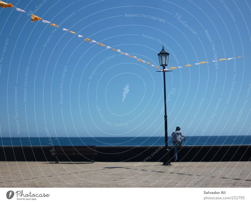 Blausehen und leben 1 Mensch Einsamkeit Atlantik Promenade Laterne Straßenbeleuchtung Fahne Parkbank Horizont Meer himmelblau Aussicht Erholung ruhig La Palma