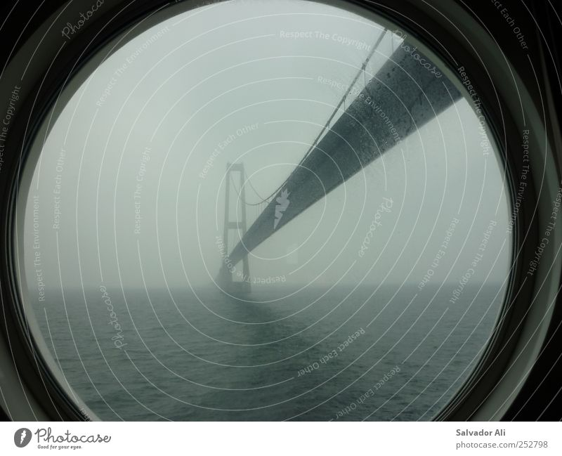 Lazin on a foggy afternoon Brücke Verkehrswege Kreuzfahrtschiff Bullauge lang trist grau ästhetisch Oeresund Brücke Color Line Nebel Hängebrücke