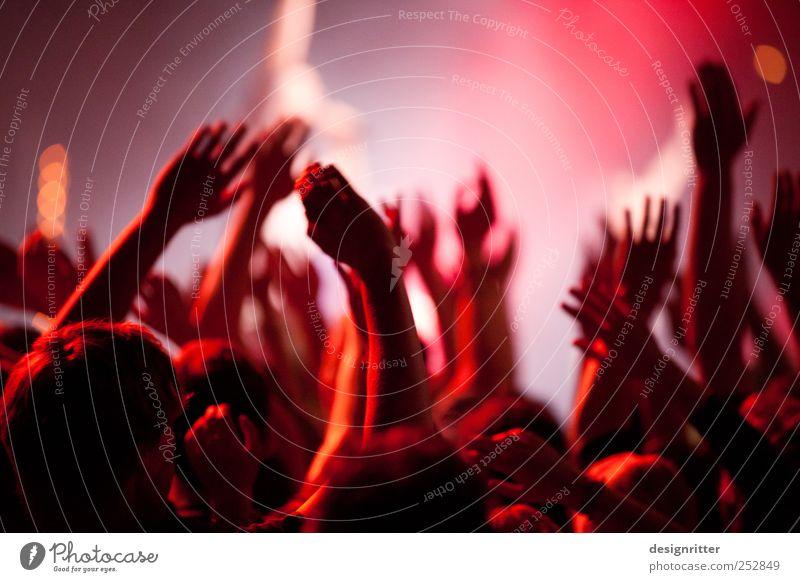 Verlangen Nachtleben Entertainment Party Musik Arme Hand Menschenmenge Kultur Jugendkultur Veranstaltung Konzert Open Air Fan springen Tanzen toben wild rot