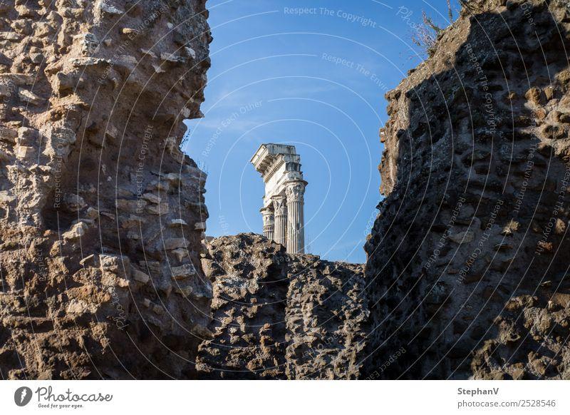 Säulen Museum Architektur Rom Italien Europa Ruine Mauer Wand Sehenswürdigkeit Wahrzeichen Forum Romanum alt Farbfoto Außenaufnahme Textfreiraum links
