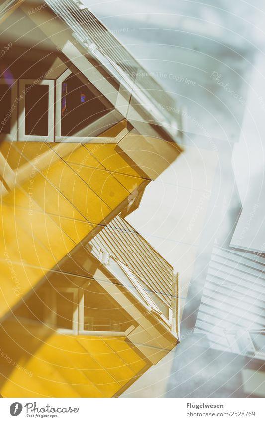 rotterdam kubus haus Haus gelb Architektur Himmel Schwache Tiefenschärfe Unschärfe Niederlande Rotterdam Fenster Dreieck Würfel
