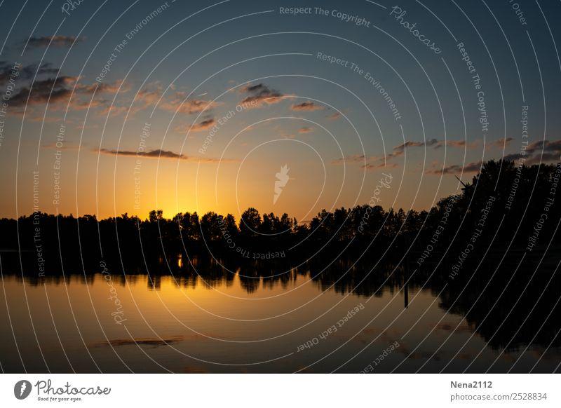 Sonnenuntergang am See Umwelt Natur Landschaft Luft Wasser Himmel Sonnenaufgang Schönes Wetter Seeufer Erholung Romantik ruhig Erholungsgebiet Farbfoto