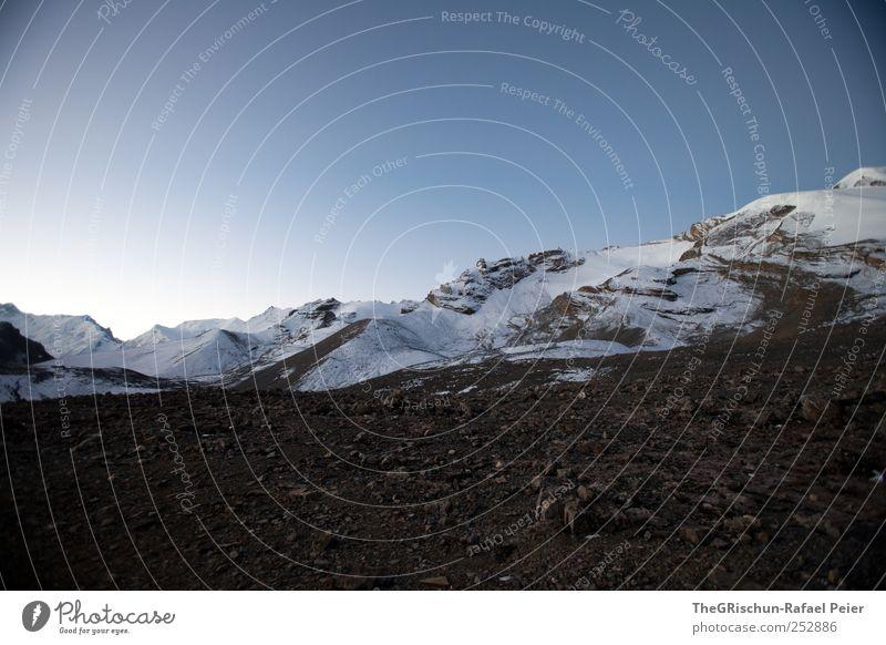 Thoron-LA II Natur blau weiß Schnee Umwelt Berge u. Gebirge Landschaft Stein braun Wind Felsen wandern Gipfel entdecken Schönes Wetter Schneebedeckte Gipfel