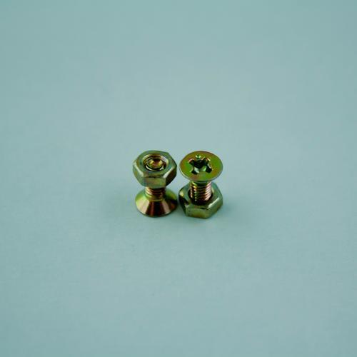 Das Pärchen Stahl klein Schraube schrauben Schraubengewinde Nickel Farbe Konstruktion Verbindung verbinden Brennpunkt Industrie Eisen Makroaufnahme Metallwaren