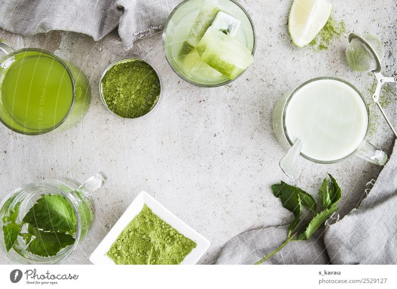 Matcha Kräuter & Gewürze Getränk Erfrischungsgetränk Heißgetränk Trinkwasser Limonade Milch Tee Tasse Glas Gesundheit Leben Erholung Sommer trendy grün Energie