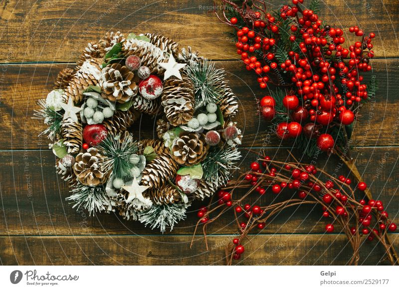 Weihnachtskranz aus natürlichen Elementen Frucht Apfel Reichtum Design Winter Schnee Dekoration & Verzierung Feste & Feiern Weihnachten & Advent Herbst Baum