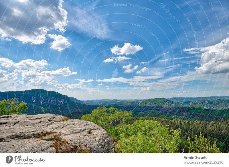 Elbsandsteingebirge Ferien & Urlaub & Reisen Tourismus Ausflug Abenteuer Ferne Freiheit Sommerurlaub Natur Landschaft Urelemente Himmel Wolken Frühling