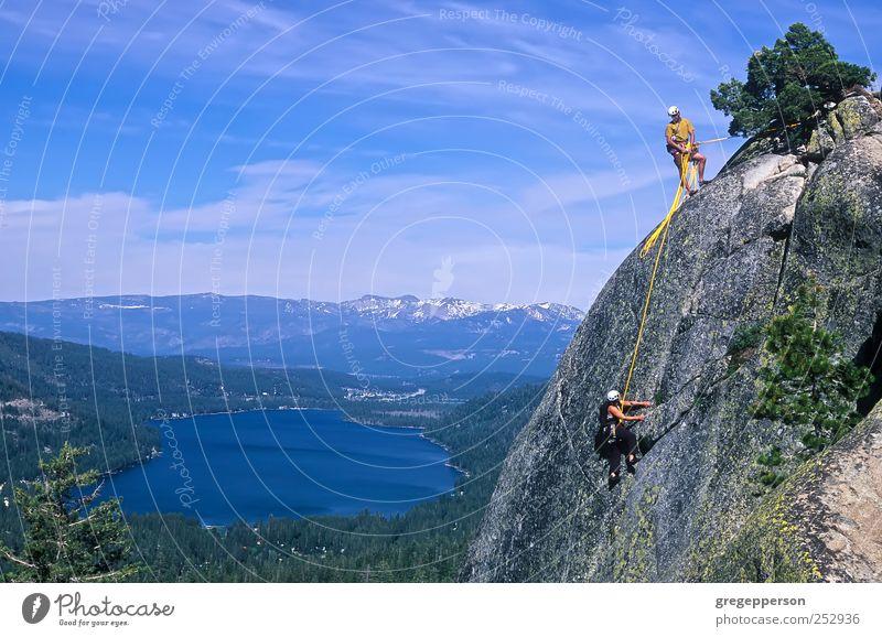 Ein Team von Kletterern erreicht den Gipfel. Leben Abenteuer Sport Klettern Bergsteigen Erfolg Seil Frau Erwachsene Mann Freundschaft Paar 2 Mensch Helm