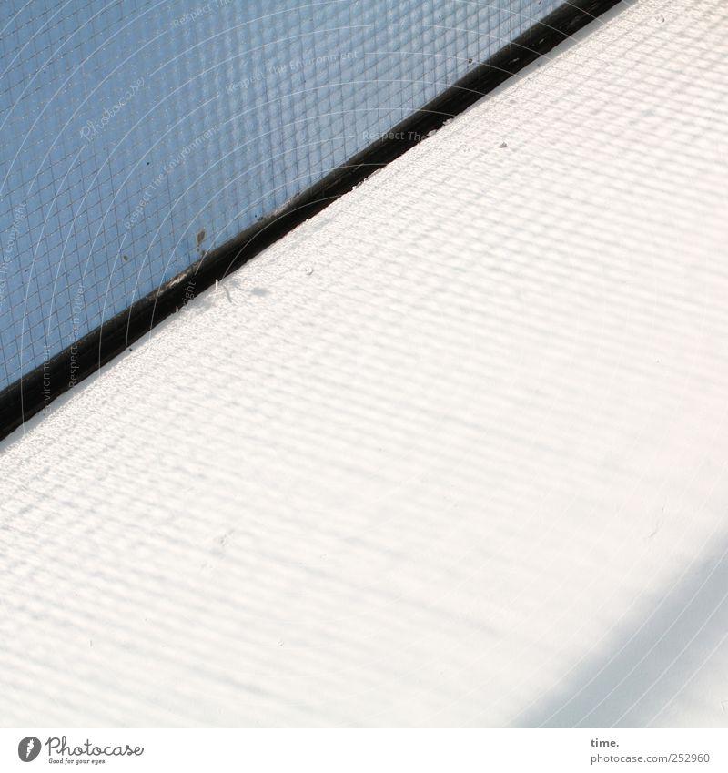 Lightbox Fenster Glas Metall dreckig blau schwarz weiß Oberlicht Gitterglas Dichtung Isolierung (Material) Fuge scheckig Spinngewebe diagonal Sicherheitsglas