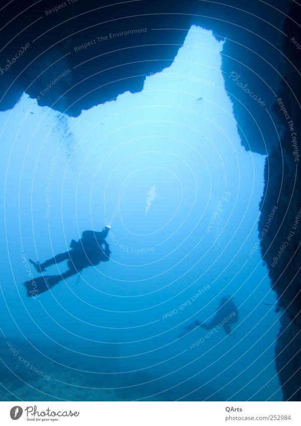 Cave Diving Mensch Natur Wasser blau Ferien & Urlaub & Reisen Meer ruhig Freiheit Freizeit & Hobby Abenteuer Tourismus Insel Neugier tauchen Italien Riff