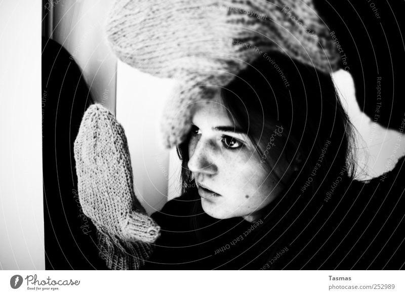 Deine Pläne Mensch feminin Junge Frau Jugendliche Kopf Haare & Frisuren Gesicht Arme Hand 1 18-30 Jahre Erwachsene Zeichen Bewegung Blick sitzen warten