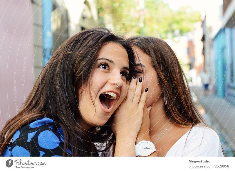 Zwei beste Freunde teilen Geheimnisse. Lifestyle Freude Glück schön Gesicht Sommer sprechen Frau Erwachsene Freundschaft Mund hören Lächeln Zusammensein lustig