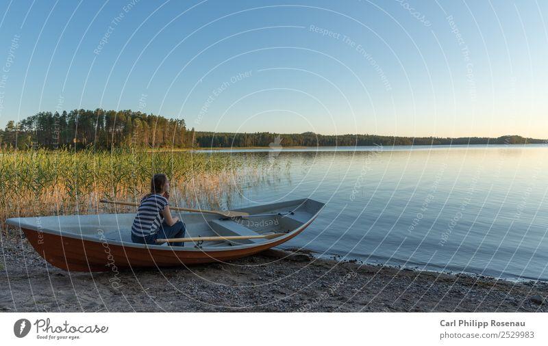 Finnischer Traum Mensch Natur Ferien & Urlaub & Reisen Jugendliche Junge Frau Sommer blau schön Wasser grün ruhig Strand 18-30 Jahre Erwachsene gelb feminin