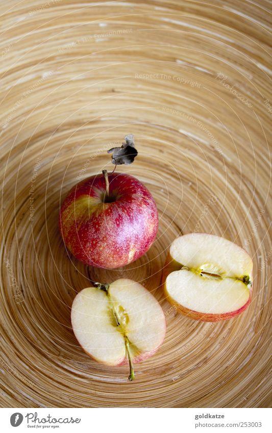 apfelteller rot Herbst Holz Gesundheit braun Frucht Ernährung Lebensmittel süß rund Apfel Teile u. Stücke Teilung Appetit & Hunger lecker Textfreiraum