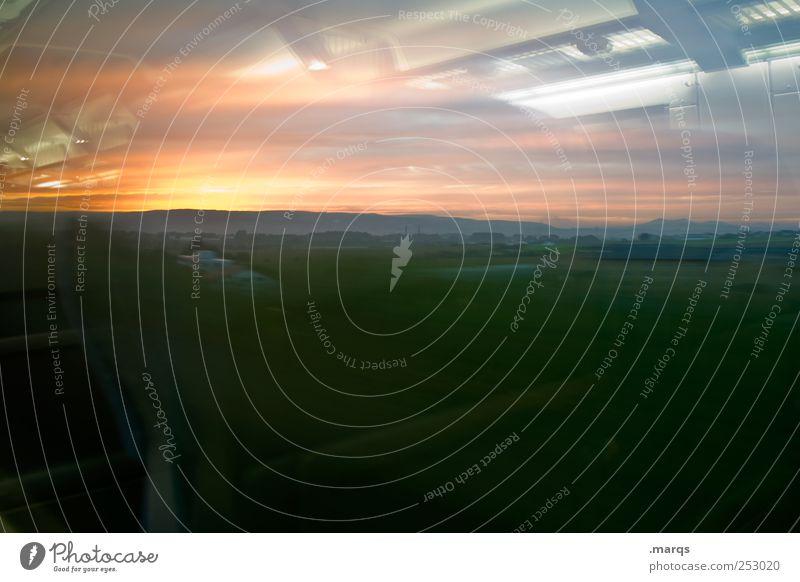 Natur & Technik Stil Ausflug Ferne Landschaft Himmel Wolken Wiese Bahnfahren leuchten außergewöhnlich Coolness dunkel Kitsch Gefühle Bewegung Endzeitstimmung