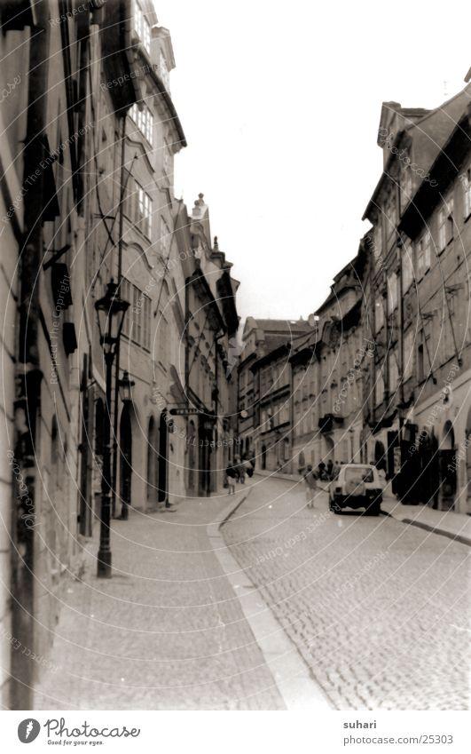 Prag Stadt Hradschin Tschechien Gasse Fotolabor Europa Schwarzweißfoto Sepia Straße