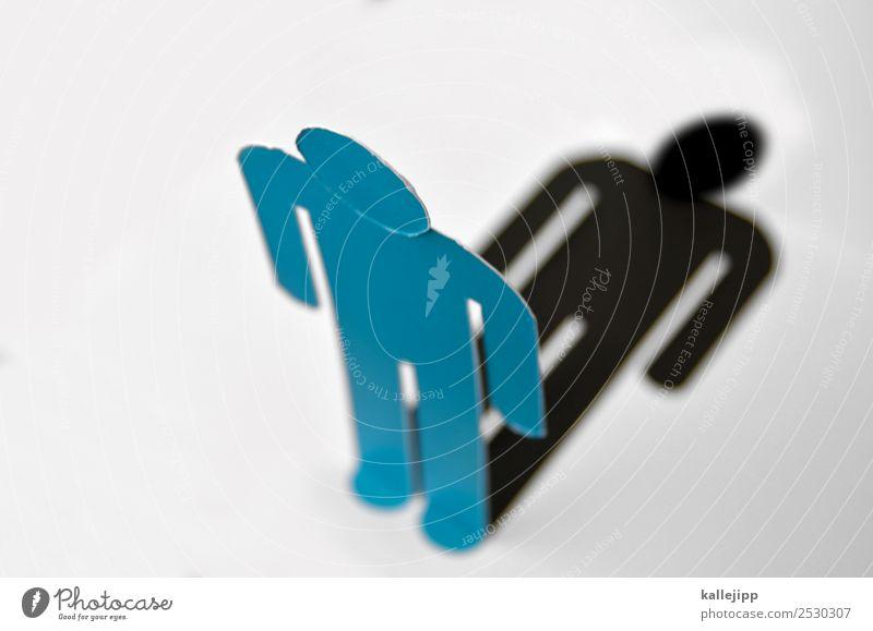 you never walk alone Mensch Mann blau Einsamkeit schwarz Design Körper stehen Zeichen Grafik u. Illustration Toilette bewegungslos minimalistisch Piktogramm Spa