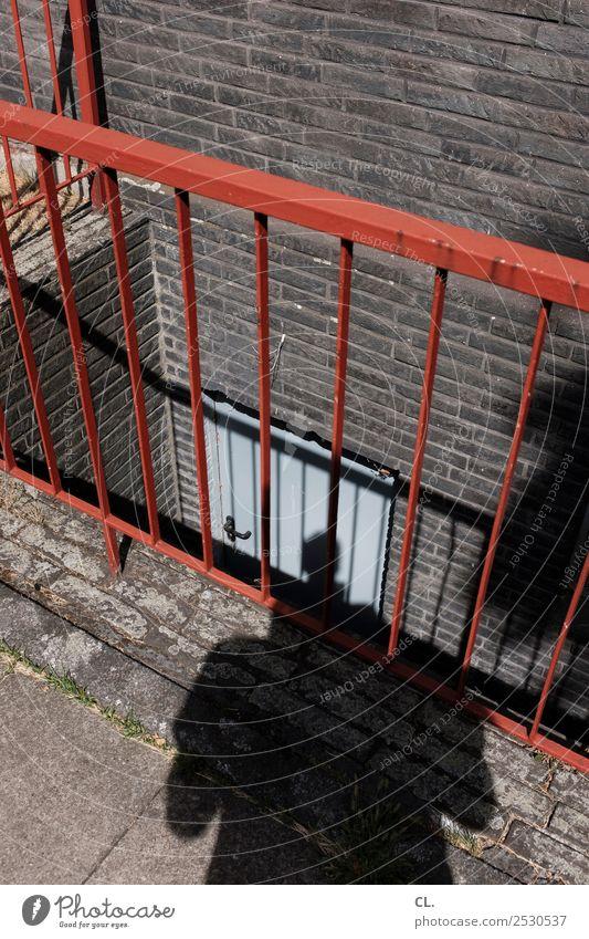 schrumpfkopf Mensch maskulin Erwachsene Leben 1 Haus Gebäude Mauer Wand Treppe Tür Keller Kellertür Kellertreppe Treppengeländer Geländer Perspektive Sicherheit