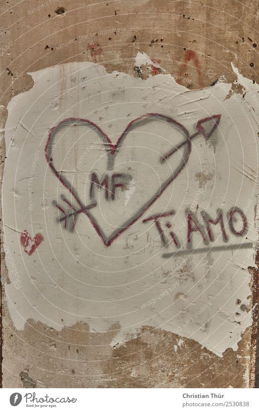 Ti Amo weiß Erotik schwarz Holz Graffiti gelb Liebe Glück Stein Sand Freundschaft träumen Sex ästhetisch Herz Beton