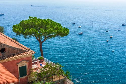 Capri Ferien & Urlaub & Reisen Sommer Wasser Sonne Baum Meer Erholung ruhig Strand Leben Wand Küste Tourismus Mauer Schwimmen & Baden Felsen